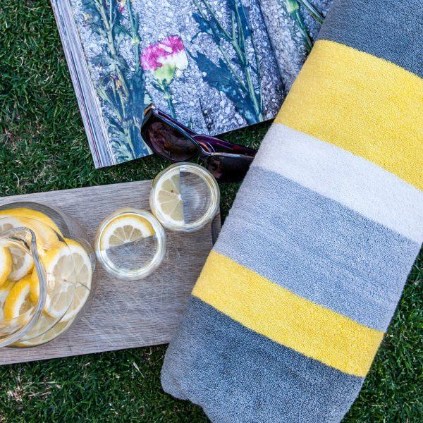 beach towel - lemon grey charcoal