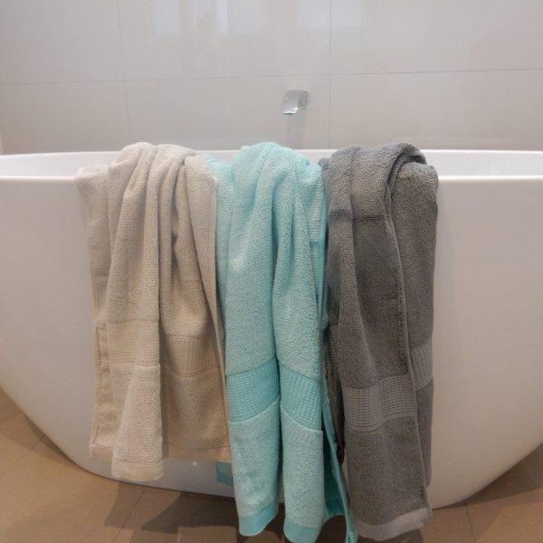 bamboo towels - oatmeal, aqua, charcoal