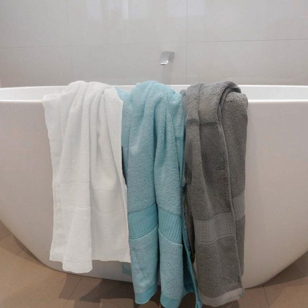 bamboo towels - white sky blue charcoal