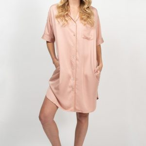 Bamboo Short Sleeve Shirt Dress - Rose