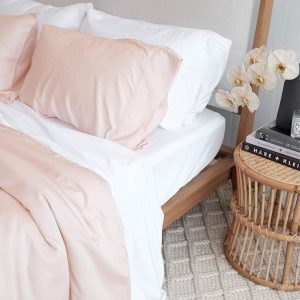 Bamboo Sheets - Blush and White