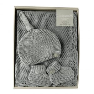 bamboo knit blanket gift set
