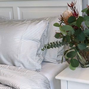 Bamboo Quilt Cover - Dove Grey Stripe
