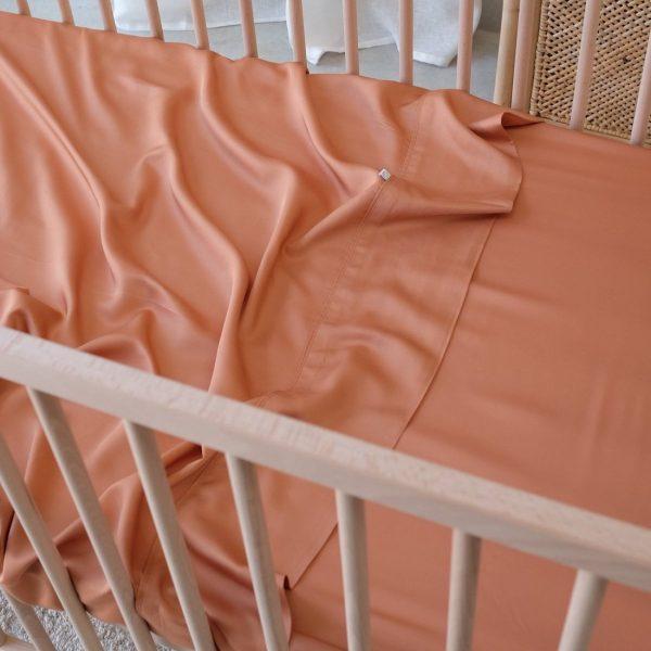Bamboo Cot Sheet - Rust